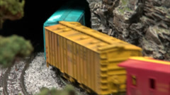 Model Train Entering Into Tunnel Stock Footage
