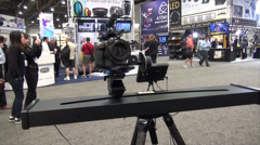 Automated Camera Slider at Trade Show (NAB) Stock Footage