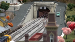 Model Train through Tunnel Stock Footage