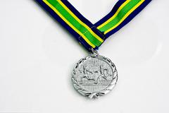 One sliver Medals on white background Stock Photos