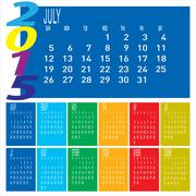 year 2015 colorful calendar - july - stock illustration
