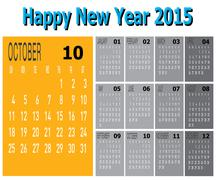 happy new year 2015 - october - stock illustration
