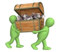 Stock Illustration of Two puppets with wooden box