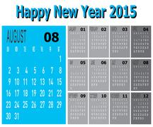 Happy new year 2015 - august Stock Illustration