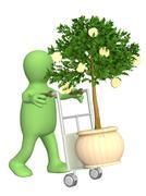 Puppet with monetary tree - stock illustration