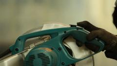 Man working cutting iron circular disk saw, making sparks Industrial work - stock footage