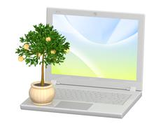 Monetary tree and laptop Stock Illustration