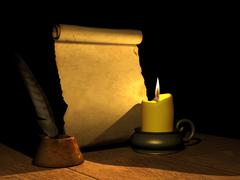Burning candle and the ancient manuscript - stock illustration