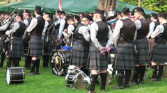 Bagpipe bands waiting at Highland Gathering Stock Footage