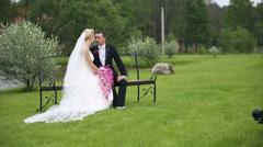 newlyweds shot in her wedding film filmmaker works with slider - stock footage