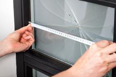 measuring window dimension - stock photo