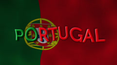 Portugal Flag and Text, Textile Background Stock Footage