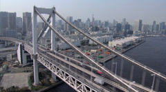 Aerial Rainbow Bridge Metropolis Tokyo Bay Shuto Expressway Japan Stock Footage
