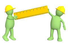 Stock Illustration of 3d builders with ruler