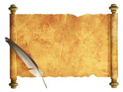 Scroll of parchment and feather - stock illustration