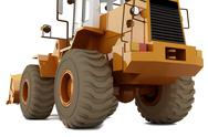 Stock Photo of Bulldozer on wheels