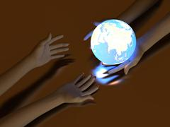 Hand and Luminous globe - stock photo