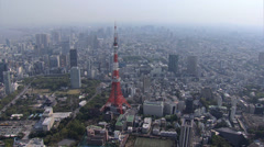 Aerial view Tokyo observation Tower Rainbow Bridge buildings Minato Japan Stock Footage