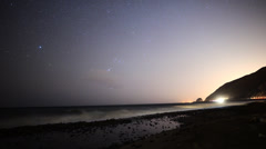 Astrophotography Time Lapse of Night Seascape with Traffic Stock Footage