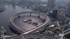 Aerial view Shuto Expressway No. 11 Port of Tokyo waterfront Minato Tokyo - stock footage