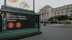 Brooklyn Museum and the Eastern Parkway. Subway to the Brooklyn Museum. - stock footage