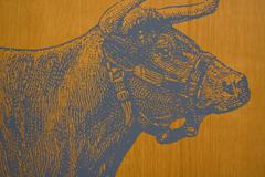 Bull on a Fence Background - stock photo