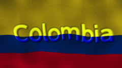 Colombia Flag and Text, Textile Background Stock Footage