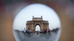 Stock Video Footage of Gateway of India, timelapse Mumbai, lens view