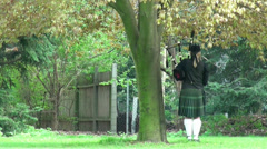 Single bagpipe player under tree at Highland Gathering Stock Footage