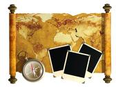 Stock Illustration of Compass, photos and antique map