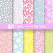 10 seamless floral patterns.  Scrapbooking, print, cards, invitations Stock Illustration