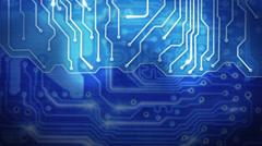 Blue computer circuit board loop background Stock Footage