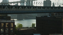Manhattan Bridge 4K. DUMBO and the East River from Brooklyn. Stock Footage