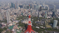 Aerial Tokyo Tower Dentsu Building skyscrapers Japan East Asia Stock Footage