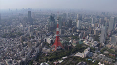 Stock Video Footage of Aerial Tokyo skyline built structures observation Tower Minato Japan Asia