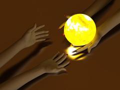 Hand and Luminous globe Stock Photos