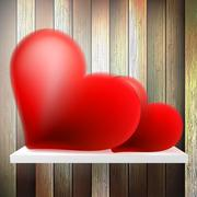 Stock Illustration of Romantic background with hearts on wood shelf.