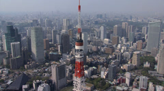 Aerial Tokyo Tower satellite dish communications observation Tower Japan Stock Footage
