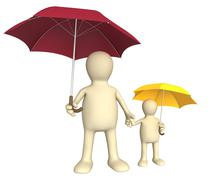 Adult and child with umbrellas - stock illustration