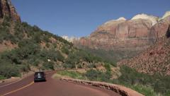 Traffic Zion National Park Utah beautiful mountain road fast HD Stock Footage