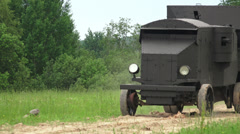 Armored car in the field. The first world war. 4K. Stock Footage