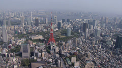 Aerial Tokyo skyline built structures observation Tower Minato Japan Asia - stock footage