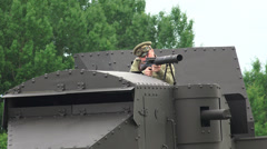 The gunner is shooting from an armored car. The first world war. WWI. 4K. Stock Footage