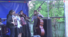 musicians on the outdoor stage - stock footage
