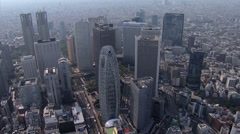 Aerial Tokyo Skyscrapers Cocoon Tower Metropolitan Government Building Japan Stock Footage