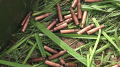 Machine-gun bullets on the grass. The first world war. 4K. Stock Footage