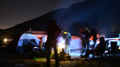 4K Time Lapse of Campers on the Beach at Night 2 -Close Up- Stock Footage