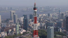 Aerial Tokyo communications and observation Tower Rainbow Bridge Japan Stock Footage