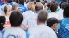 Marathon Runners Crowd 05 Stock Footage