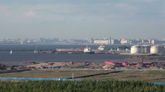 Saint-Petersburg Oil Terminal offers in Finland Gulf, Russia Stock Footage
